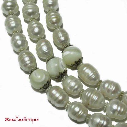 Купити натуральні перли - кольє та сережки