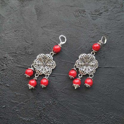 Сережки з коралом фото 108